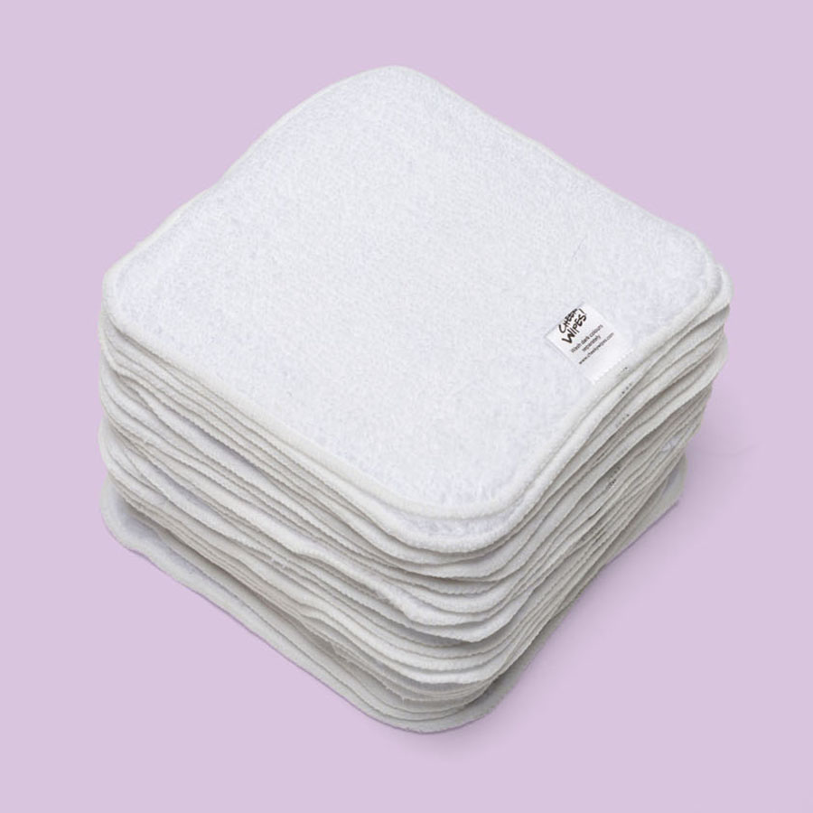 Washable PREMIUM Cloth Cotton Terry Baby Wipes - White